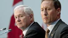 U.S Secretary of Defence Robert Gates and Defence Minister Peter MacKay take questions at an Ottawa news conference on Jan. 27, 2011. (Pawel Dwulit/THE CANADIAN PRESS)