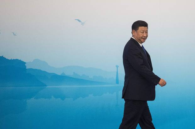 Chinese President Xi Jinping arrives for a news conference in Xiamen, China, on Sept. 5, 2017.