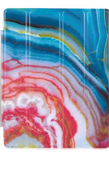 a hard case to crack: This silver-hinged iPad cover in an exploded-agate print, created by British designer and architect Richard Weston, is a showcase for the volcanically derived mineral's intense pigmentation. Weston iPad cover, $100 through www.net-a-porter.com.