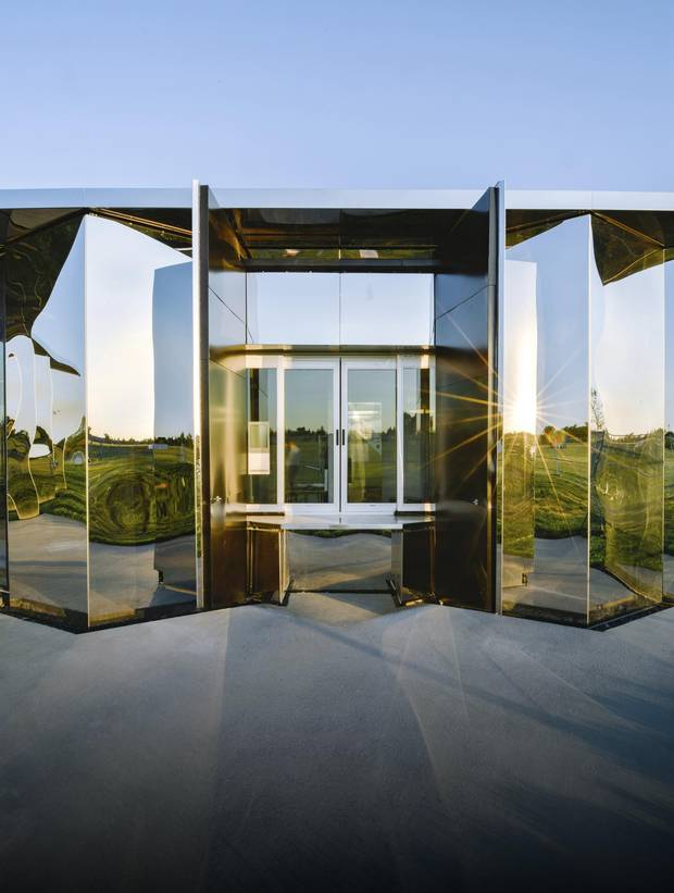 The Castle Downs Park Pavilion is wrapped in a skin of stainless steel and contains such humble facilities as washrooms and a meeting room.