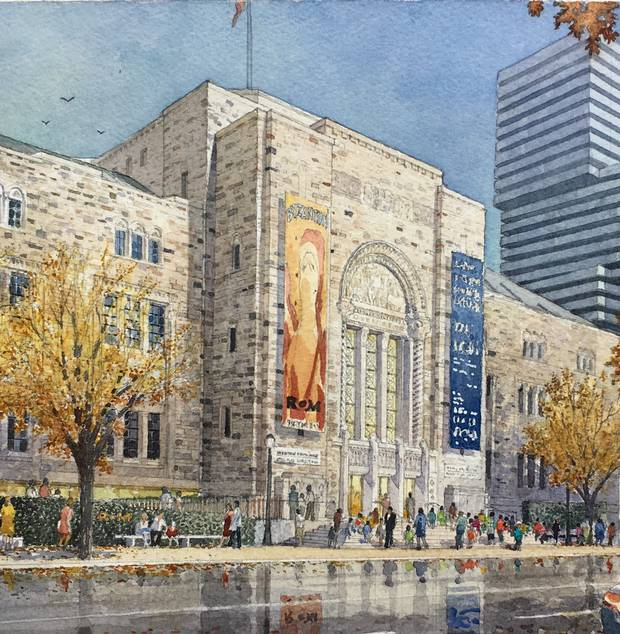 The ROM's Weston Entrance on Queens Park rendered in watercolour by Michael McCann Associates Ltd.