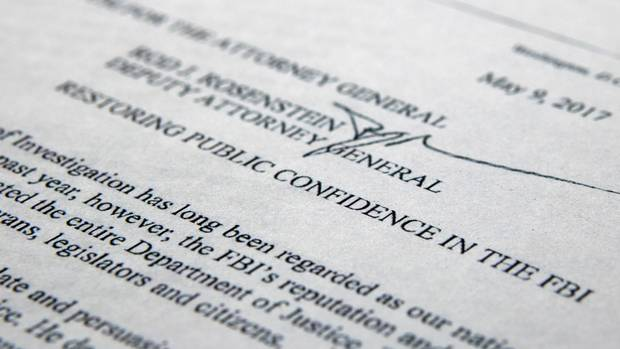 The letter from Deputy Attorney-General Rod Rosenstein titled 'Restoring Public Confidence in the FBI' is photographed in Washington, on May 9, 2017.
