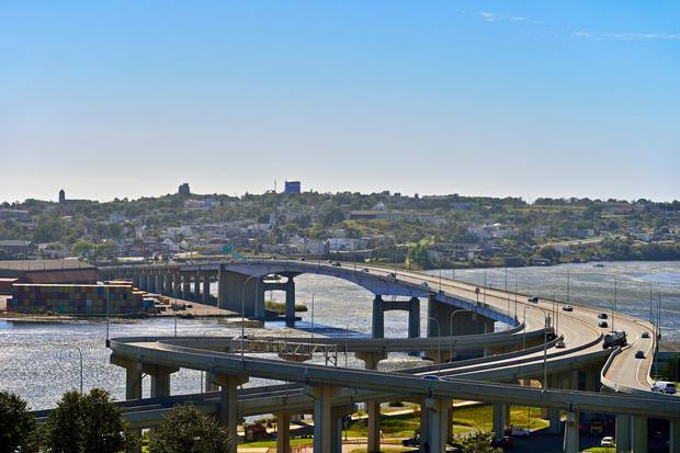 The Harbour Bridge in Saint John spans across a segment of the historic New Brunswick river.