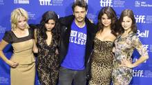 "The cast of the film ""Spring Breakers"", (from L to R) Ashley Benson, Vanessa Hudgens, James Franco, Selena Gomez and Rachel Korine pose at a news conference during the 37th Toronto International Film Festival September 7, 2012. (Reuters)"