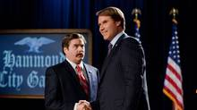 Zach Galifianakis as Marty Huggins and Will Ferrell as Cam Brady in Campaign. (Patti Perret/Warner Bros.)