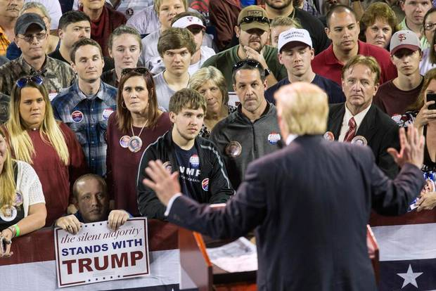 Donald Trump speaks to supporters during a rally at Valdosta State University in Valdosta, Georgia, in February.