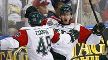 Halifax Mooseheads' Brent Andrews (R) celebrates his goal with teammate Luca Ciampini during the first period of the Memorial Cup Canadian Junior Hockey Championships against the London Knights in Saskatoon, Saskatchewan, May 21, 2013. (TODD KOROL/REUTERS)
