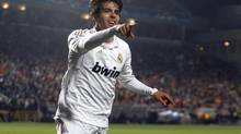 Real Madrid's Kaka celebrates (Philippos Christou/The Associated Press)