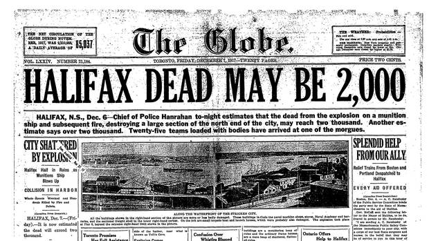 The Globe front page from Dec 7, 1917. Click here to view the full page in a new window.