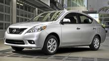 2012 Nissan Versa sedan. (Mike Ditz/Nissan)