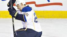St. Louis Blues' Chris Stewart celebrates a goal against the Edmonton Oilers (JASON FRANSON/THE CANADIAN PRESS)