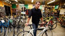 David Labistour, CEO of Mountain Equipment Co-op, talk about the new line of bikes designed by the company, now for sale in Toronto. (Deborah Baic)