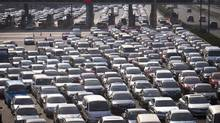 A view shows cars jammed on the Shanghai-Beijing Expressway in Shanghai on Sept. 30, 2012. Auto makers expect sales in China to remain strong in 2014. (STRINGER/REUTERS)