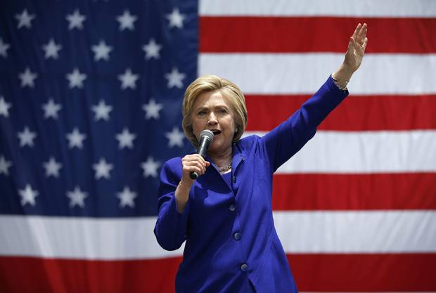 Democratic presidential candidate Hillary Clinton speaks at a rally in Lynwood, California, the day before the state holds its primary.
