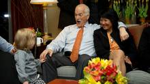 New Democratic Party (NDP) leader Jack Layton and Olivia Chow react to grand-daughter Beatrice while watching election results come in from a hotel suite in Toronto, Ont. May 2, 2011. (Kevin Van Paassen/The Globe and Mail/Kevin Van Paassen/The Globe and Mail)