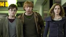 "Flat Harry Potter, Flat Ron Weasley and Flat Hermione Granger in a scene from the (2-D) ""Harry Potter and the Deathly Hallows: Part 1."" (AP)"