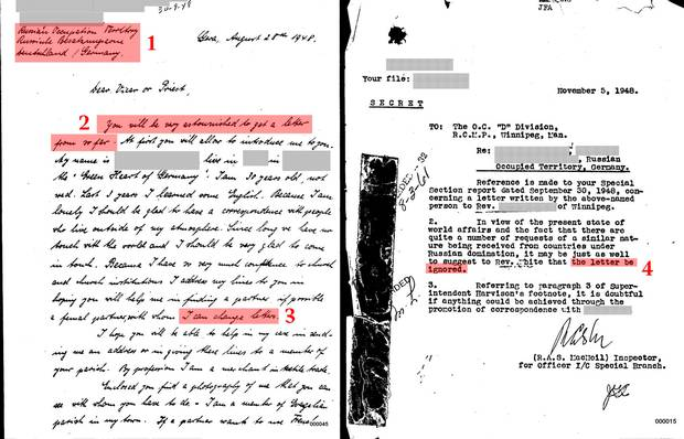 1) The strange letters were sent from behind the Iron Curtain. This letter is from the 'Russian Occupation Territory' of East Germany. 2) The RCMP noticed several followed the same pattern, with lines similar to this: 'You will be very astonished to get a letter from so far.' 3) The letters resembled pen-pal requests, then requested items such as maps, phone directories, photos of ports, military information, and other information that raised concerns. 4) The RCMP and Department had concerns about Canadians answering the letters.
