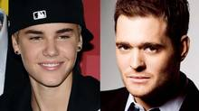 Justin Bieber (left) and Michael Buble