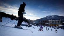 Skiers make their way off of Whistler mountain in Whistler, B.C. (JOHN LEHMANN/JOHN LEHMANN/GLOBE AND MAIL)
