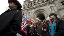 Protesters take part in a mass sit-in in front of the British Columbia legislature in Victoria, B.C. Monday, Oct. 22, 2012. to protest the proposed Northern Gateway pipeline. Native leaders say the report could perhaps set the stage for groundbreaking talks between First Nations and government over several multibillion-dollar energy developments that have been proposed in B.C. (JONATHAN HAYWARD/THE CANADIAN PRESS)
