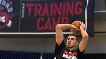 Toronto Raptors Jonas Valanciunas shoots baskets during training camp in Halifax, N.S., on Friday, Oct. 5, 2012. (Andrew Vaughan/THE CANADIAN PRESS)