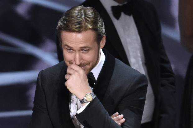 Ryan Gosling reacts as the true Best Picture winner is announced.