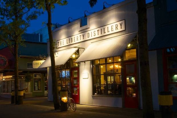 Liberty Distillery lets visitors try a tasting flight of its B.C. wheat-based gins and vodka.