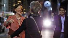 PC Leader Alison Redford is greeted by supporters in Calgary after her re-election as Alberta Premier on April 23, 2012. (TODD KOROL/Todd Korol/Reuters)