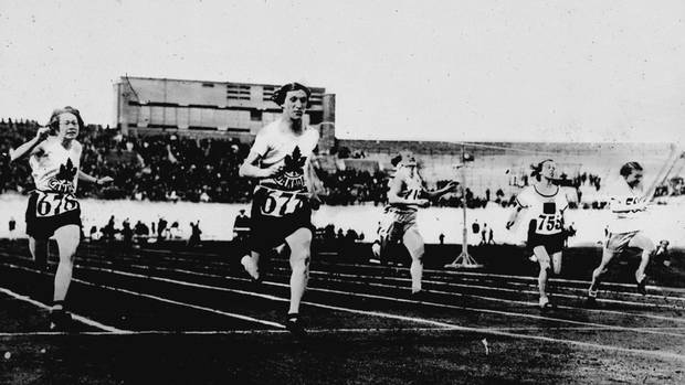 Fanny Rosenfeld, second from left, runs in the women's 100-metre race at the Summer Olympic Games in Amsterdam in 1928.