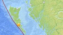 The epicentre of Saturday's 7.7 magnitude earthquake. (U.S. Geological Survey)