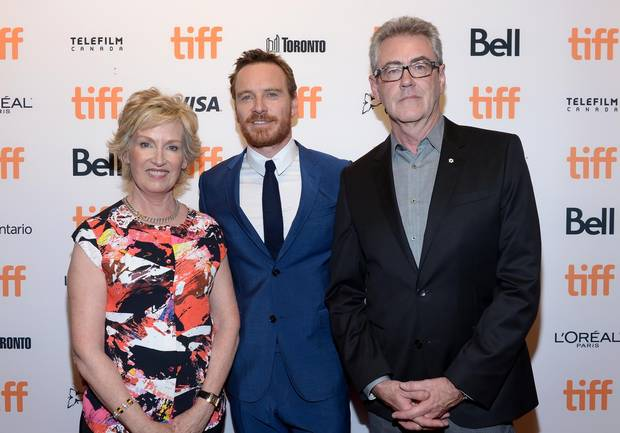 TIFF board member and vice chair Lisa de Wilde, actor Michael Fassbender and Director and Chief Executive Officer of TIFF Piers Handling attend the TIFF Soiree during the 2016 Toronto International Film Festival at TIFF Bell Lightbox on September 7, 2016 in Toronto, Canada.