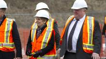 Premier Kathleen Wynne and Mayor Rob Ford were recently given a tour of the site of the new TTC station of the Toronto-York Spadina Subway extension in Vaughan near the intersection of Hwy 407 and Jane Street. (Peter Power/The Globe and Mail)