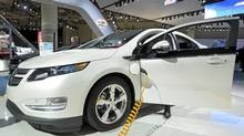 The 2012 Chevrolet Volt won an award for best new technology at the Canadian International Auto Show in Toronto in February. (Nathan Denette/THE CANADIAN PRESS)