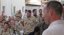 Defence Minister Peter MacKay addresses Canadian soldiers at Kandahar Airfield on Sunday, May 17, 2009. (Colin Perkel)