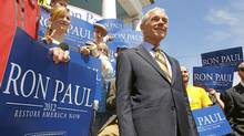 U.S. Representative Ron Paul waits for a television interview at a campaign stop in Exeter, N.H., on May 13, 2011, after announcing his candidacy for the Republican Presidential nomination earlier in the day. (BRIAN SNYDER/REUTERS/BRIAN SNYDER/REUTERS)