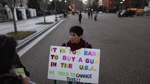 Linda Finkel-Talvadkar at a protest in favour of gun control, held in reaction to a school shooting in Connecticut, on Pennsylvania Avenue in front of the White House in Washington, Dec. 14, 2012. (LUKE SHARRETT/NYT)