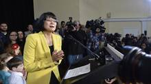 Olivia Chow speaks to the media after she officially entered into the race as a candidate in the up coming fall Toronto mayor election in Toronto on Thursday, March 13, 2014. (Nathan Denette/Canadian Press)