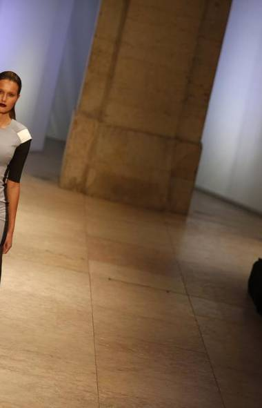 A model wears a creation by designer Dino Alves at Lisbon Fashion Week (RAFAEL MARCHANTE/REUTERS)