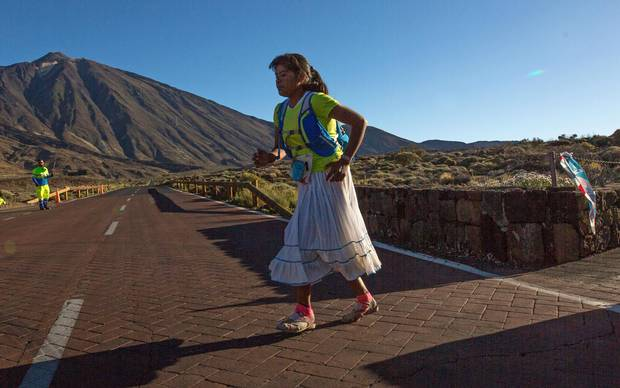 Mexican cattle farmer and part-time long-distance runner Maria Lorena Ramirez, 22, competes in the Cajamar Tenerife Bluetrail 2017, a 97-kilometre mountain race held over 23 hours, on June 10, 2017.