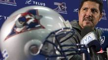 Montreal Alouettes quarterback Anthony Calvillo speaks to the media after cleaning out his locker, Monday, Nov. 11, 2012 in Montreal. (Ryan Remiorz/THE CANADIAN PRESS)