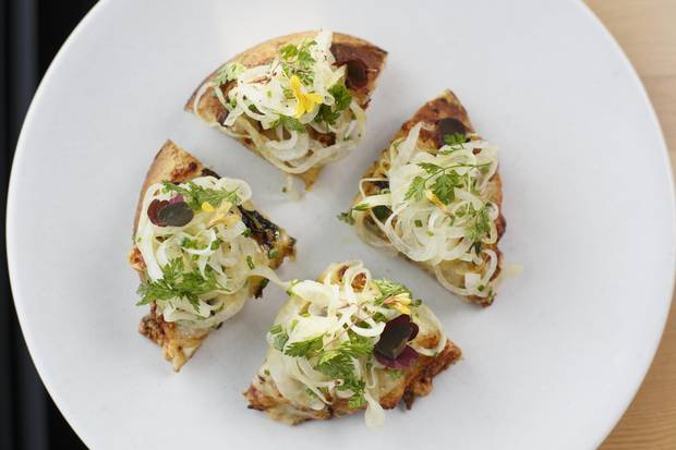 Flammkuchen is one of the menu items at Biera. The eatery's menu is a far cry from the typical brewpub fare one might expect.