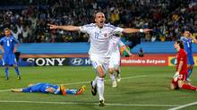 Robert Vittek of Slovakia celebrates scoring the second goal during the 2010 FIFA World Cup South Africa Group F match between Slovakia and Italy at Ellis Park Stadium. (Robert Cianflone/2010 Getty Images)