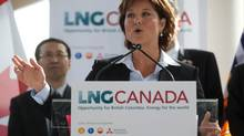 Premier Christy Clark speaks at an announcement about a joint venture agreement with Shell Canada Energy, PetroChina Corporation, Korea Gas Corporation and Mitsubishi Corporation to develop a proposed liquefied natural gas (LNG) export project, in Vancouver, B.C., on Wednesday April 30, 2014. (DARRYL DYCK/THE CANADIAN PRESS)