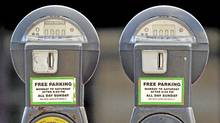 Coin operated parking meters located near Bloor Street West in Toronto. (Kevin Van Paassen/Kevin Van Paassen/The Globe and Mail)