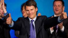 Vancouver Mayor Gregor Robertson celebrates after he was re-elected in a civic election in Vancouver, B.C., on Saturday November 19, 2011. (Darryl Dyck/The Canadian Press/Darryl Dyck/The Canadian Press)
