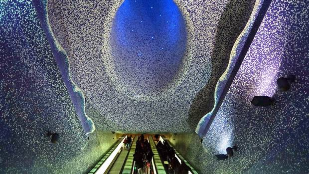The ceiling of the Toledo metro station in Naples.