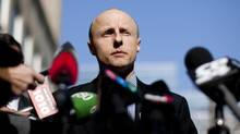 TTC chief Andy Byford speaks to the media outside the company's head office in Toronto. (Chris Young For The Globe and Mail)