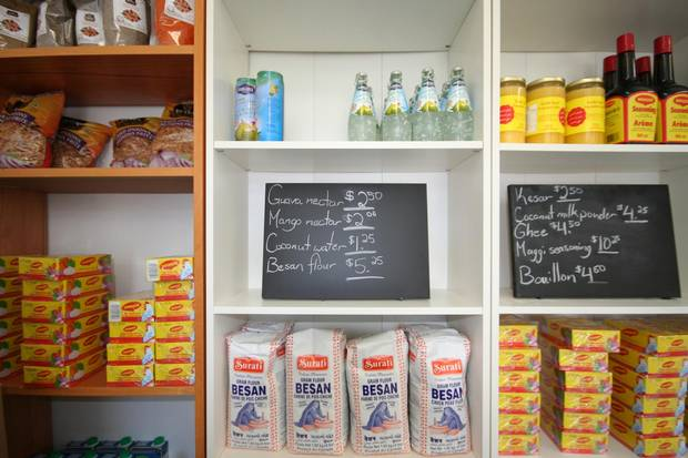 The shelves at Moss Park Market.