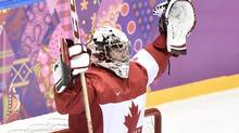 Canada goalie Carey Price celebrates following Canada's win over Sweden in the gold medal game at the 2014 Sochi Winter Olympics in Sochi, Russsia, on Sunday, February 23, 2014. (Nathan Denette/THE CANADIAN PRESS)
