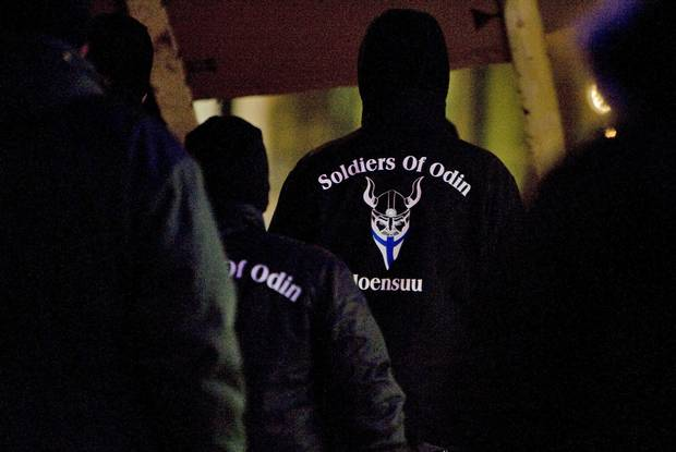 A group that calls themselves the Soldiers of Odin demonstrate in Joensuu, Eastern Finland on Jan. 8, 2016. Soldiers of Odin is one of the extremist groups that causes the most concern in Alberta, according to the Alberta Hate Crimes Committee.